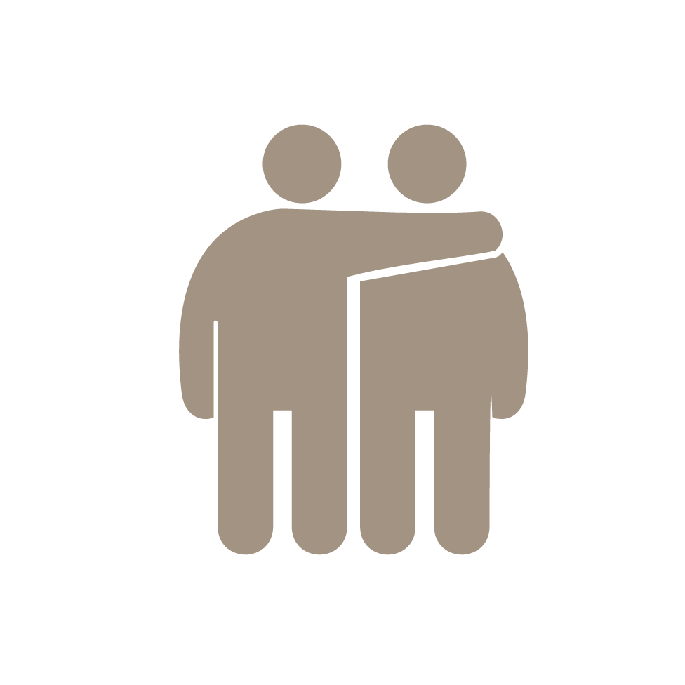 Icon of person with arm around another person