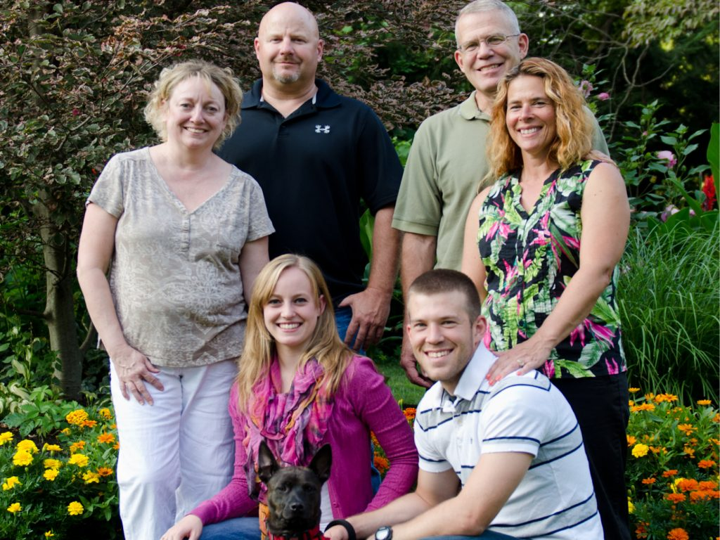 Family of six and dog