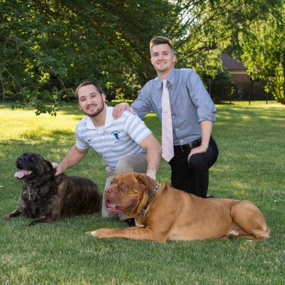 sibling group with dogs
